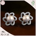 New Arrival European And America  Popular Top Quality 925 Real Silver Flower Lace Pearl Stud Earring