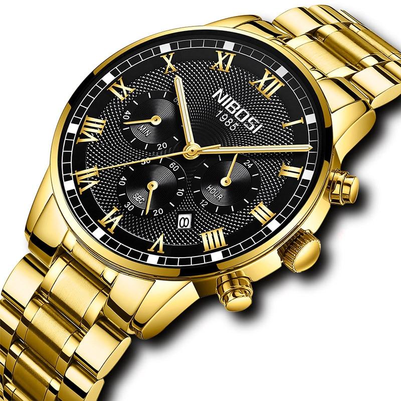 цена на NIBOSI Watch Quartz Watches Men 2018 New Luxury Brand Gold Clock Man Fashion Mens Sport Watches Men Waterproof Relogio Masculino
