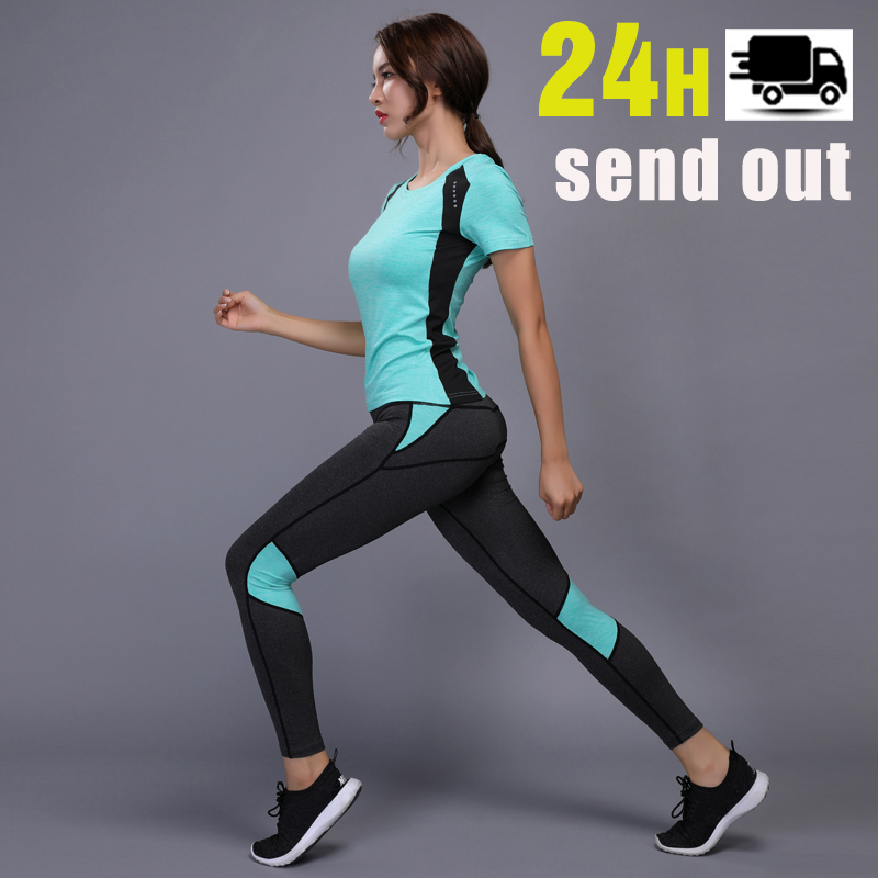 Women Yoga Set Gym Fitness Clothes Tennis Shirt+Pants Running Tights Jogging Workout Yoga Leggings Sport Suit plus size 1