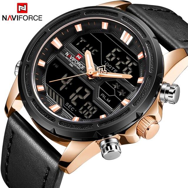 dfd19ade4dc NAVIFORCE Top de Luxo Da Marca Homens Esporte Militar Relógios de Pulso de  Quartzo dos homens