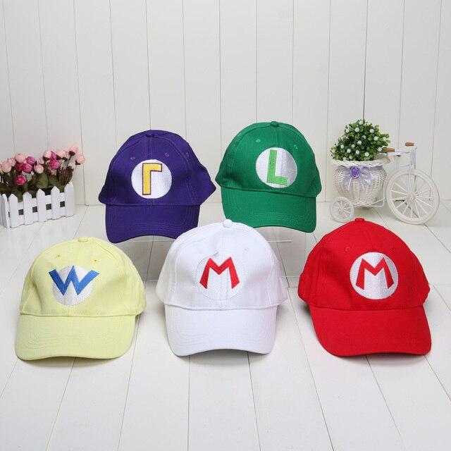 58ef50ed71c7 Mario Luigi Hats 21.3   Adjustable Super Mario Bros Baseball Hat Caps Red  Green Purple Yellow White 5 colors