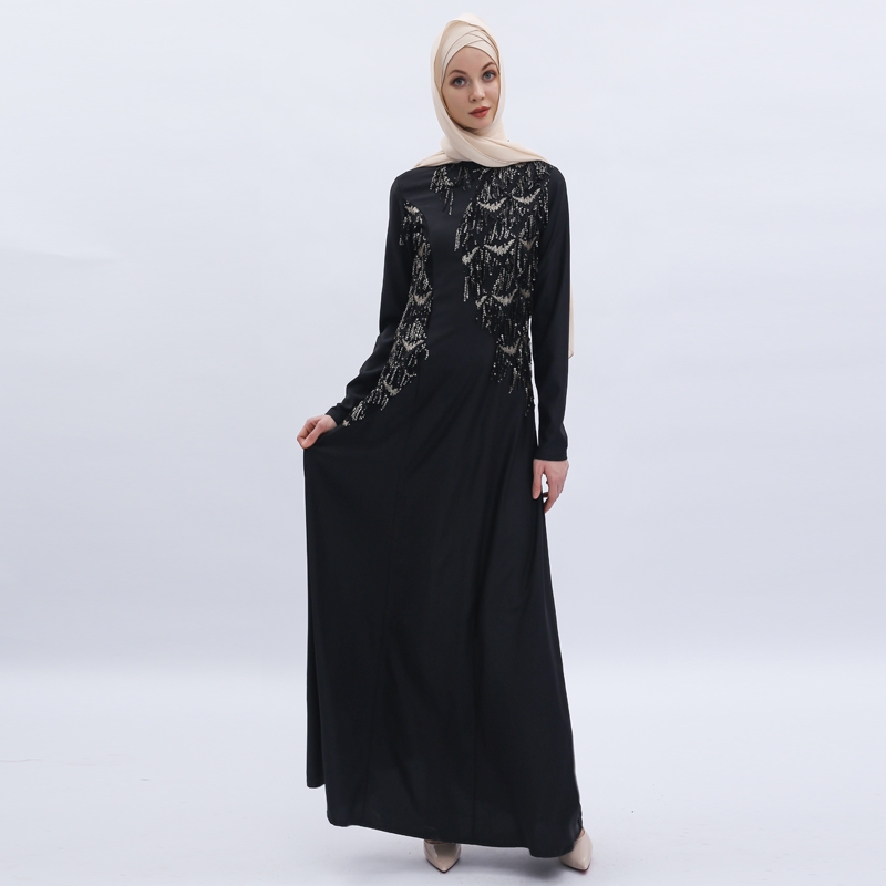Sequin Abaya Dubai Pakistani Maxi Muslim Hijab Dress Women Kaftan Caftan Elbise Turkish Dresses Robe Musulmane Longue Vestidos