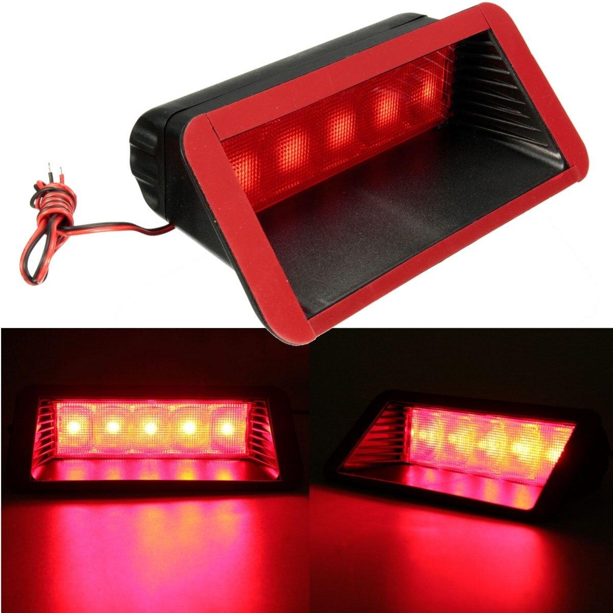 Universal 12 V coche 5 LED advertencia de cola trasera 3rd tercera parada del freno Luz de niebla High Mount lámpara roja