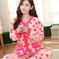 Las mujeres ropa de dormir de mujer pijama lindo floral coral fleece pajamas mujeres del invierno thicking ropa de dormir pijamas set de lady vestidos