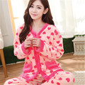 Women sleepwear female pyjama cute floral coral fleece pajamas winter women thicking pajamas set lady's nightwear vestidos