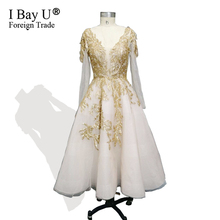 Luxury Dubai Golden Lace Dresses 2019 3D Flower Formal