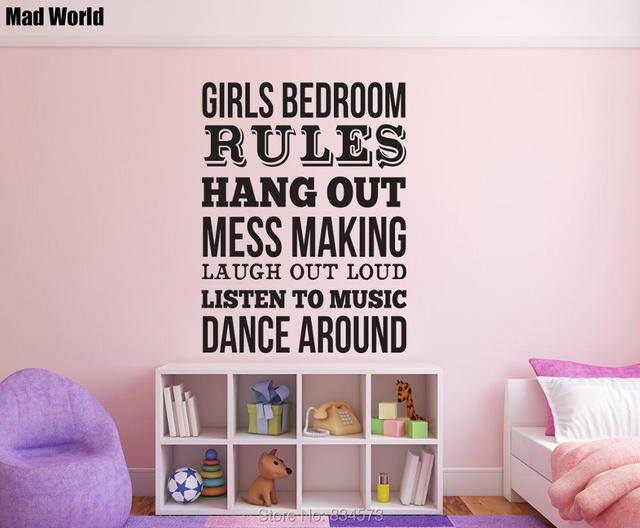 Mad World Girls Bedroom Rules Quote Wall Art Stickers Wall Decal Home DIY  Decoration Removable