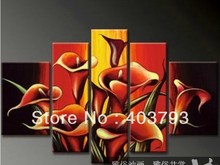 Modern abstract  Oil Painting On Canvas huge wall art beautiful red calla flower Free shipping