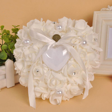 Pearl Rose Flower Heart-shaped Cake Ring Box Romantic Wedding Engagement Gift Package 1pcs
