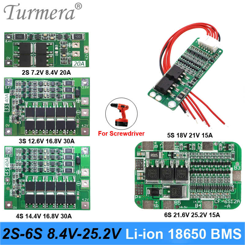 Turmera 2S 3S 4S 5S 6S Li-ion Lithium Battery 18650 Charger PCB BMS Protection Board For screwdriver battery Lipo Cell Module ma