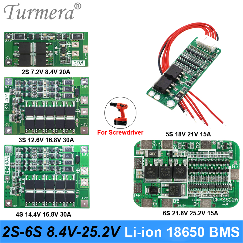 Turmera 2S 3S 4S 5S 6S Li-ion Lithium Battery 18650 Charger PCB BMS Protection Board For screwdriver battery Lipo Cell Module ma image