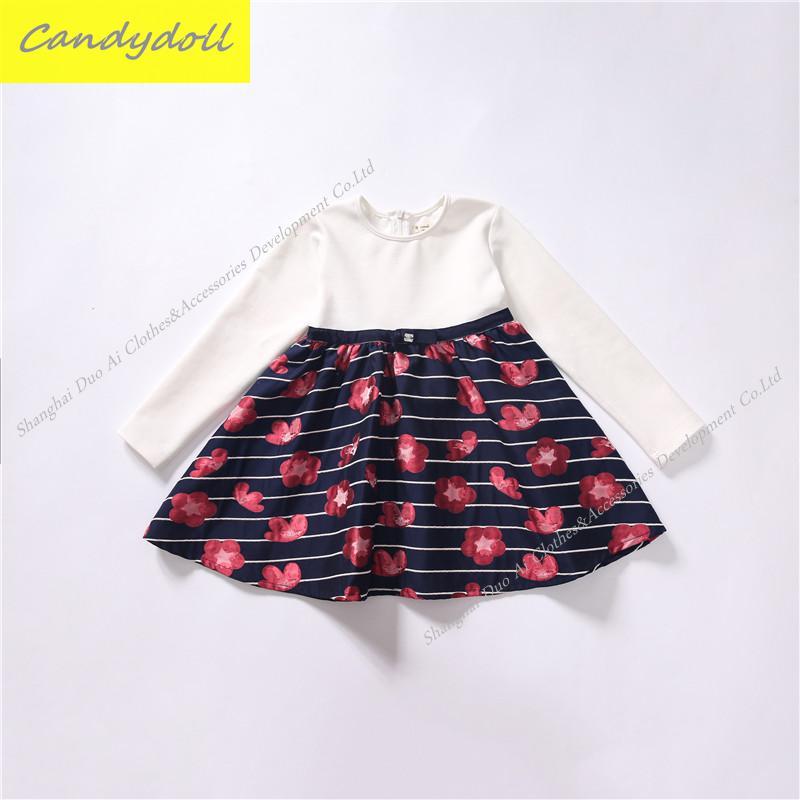 ФОТО New arrival Spring/Fall Children's Dress Girls Printing Dress Girl Fashiong Leisure Long-sleeve Dress 4-9Y