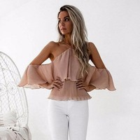 Womens Sexy Hanging Neck Off Shoulder Blouse Ladies Casual Chiffon V Neck Ruffles Shirt Camisa Feminina