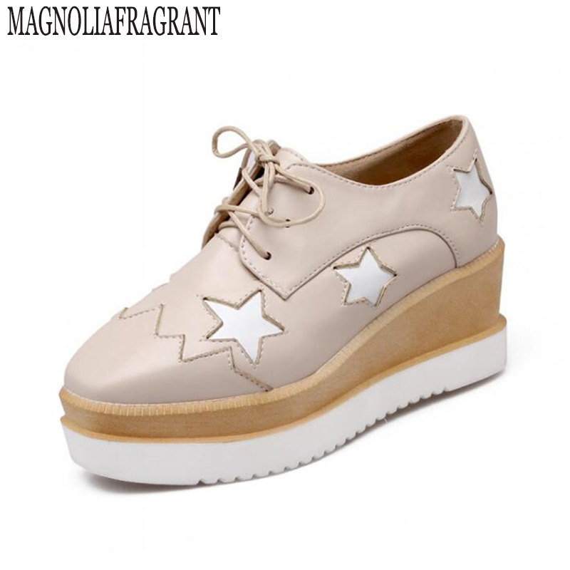 2017 Stars flat shoes women Round Toe Patent Leather Platform Shoes Oxford Lace up Derby Shoes large size Brogue Shoes z47 n11 brand 2017 spring women platform shoes woman brogue patent leather flats lace up footwear female flat oxford shoes for women