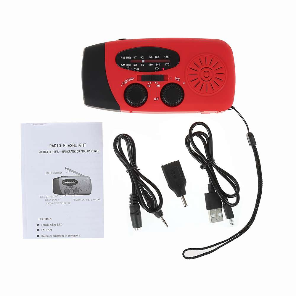 Outdoor 3 In 1 Emergency Solar Hand Crank Fm Radio Flashlight Usa Seller Dual Car Audio 12pin Stereo Wire Harness Power Plug Smart Cellphone Charger With Usb Cable