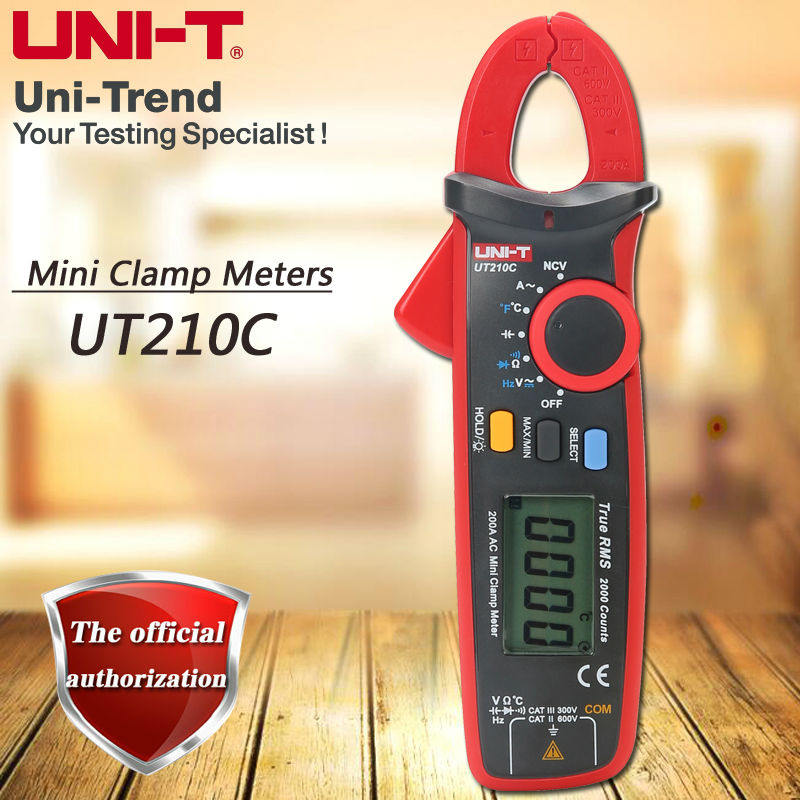 UNI-T UT210C Single AC 200A True RMS High Precision Mini Digital Clamp Multimeter/NCV/Diode Test/LCD Backlight/Temperature Test uni t ut890c digital lcd multimeter true rms ac dc frequency palm size lcd backlight automotive temperature probe