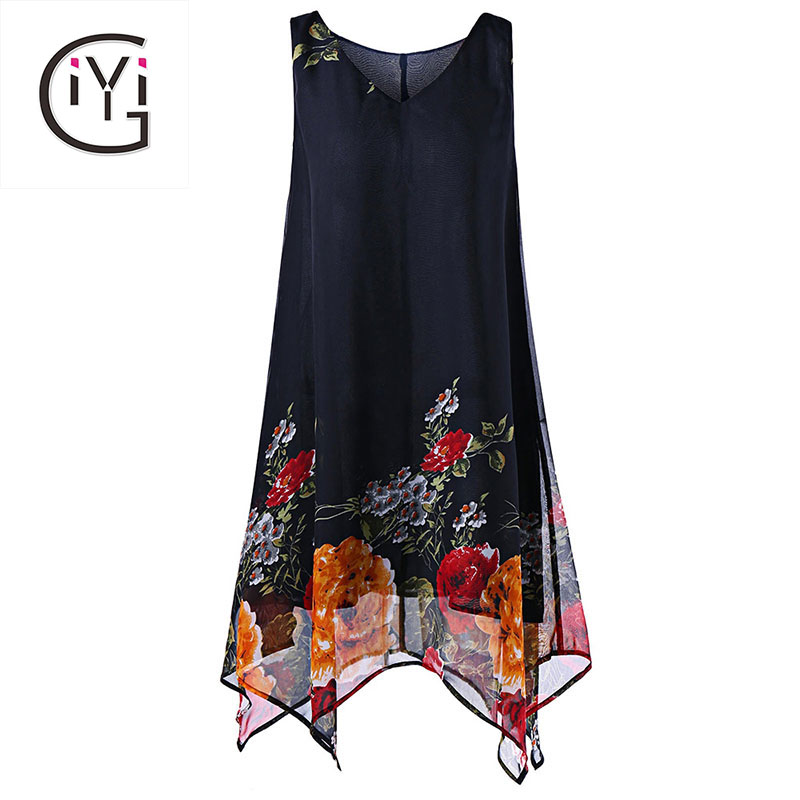 GIYI Plus Size 5XL V Neck Floral Print Boho Beach Chiffon Dress Women Summer 2017 Sexy