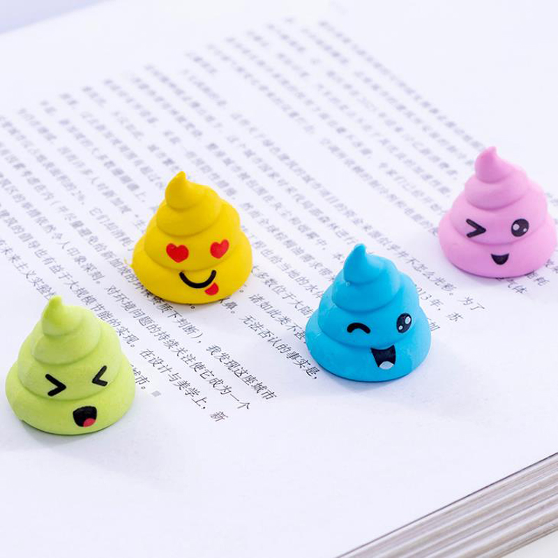 4 Pcs/set Cute Mini Colorful Funny Shits Poop Closestool Shape Expressions Rubber Pencil Erasers Stationery School Office Gifts