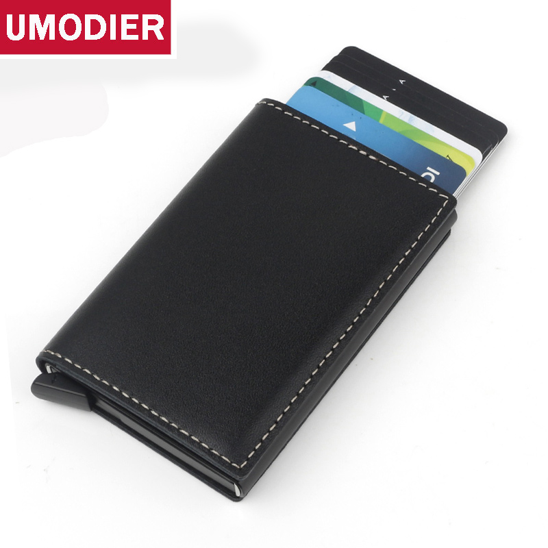 UMODIER Antitheft Men Vintage Credit Card Holder Blocking RFID Wallet Genuine Leather Automatical Aluminium Cardholder Purse ljl bullcaptain genuine leather men wallet rfid blocking vintage bifold wallets credit cards holder