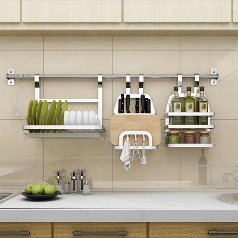 Stainless Steel Kitchen Rack DIY SUS 304 Stainless Steel Wall Kitchen Shelf,  Kitchen Holder Organizer