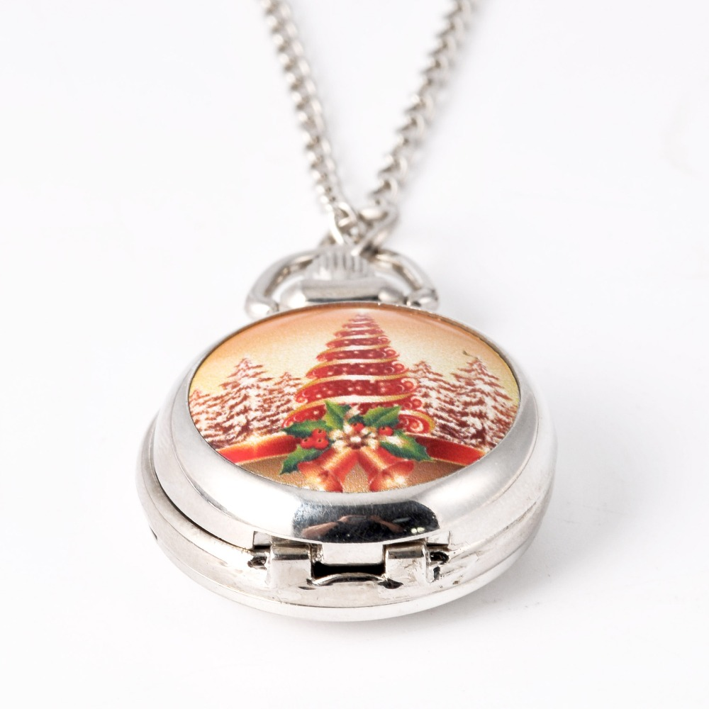 2019 Hot New Fashion Pocket Watch Necklace Christmas Tree Silver Pocket Watch Wholesale Christmas Best Gift Give