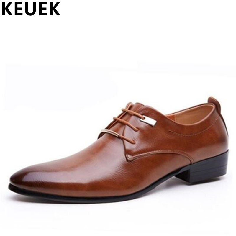 Big size Casual Men Flats Spring Autumn Lace-Up Dress Business leather shoe Male Brogue Shoes Oxfords Men wedding shoes 03A new fashion men business office formal dress solid genuine leather shoes lace up pointed toe flats oxfords shoe spring autumn