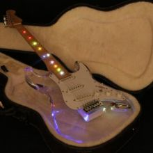 Hign end quality acrylic body led light on neck strat electric guitar free shipping