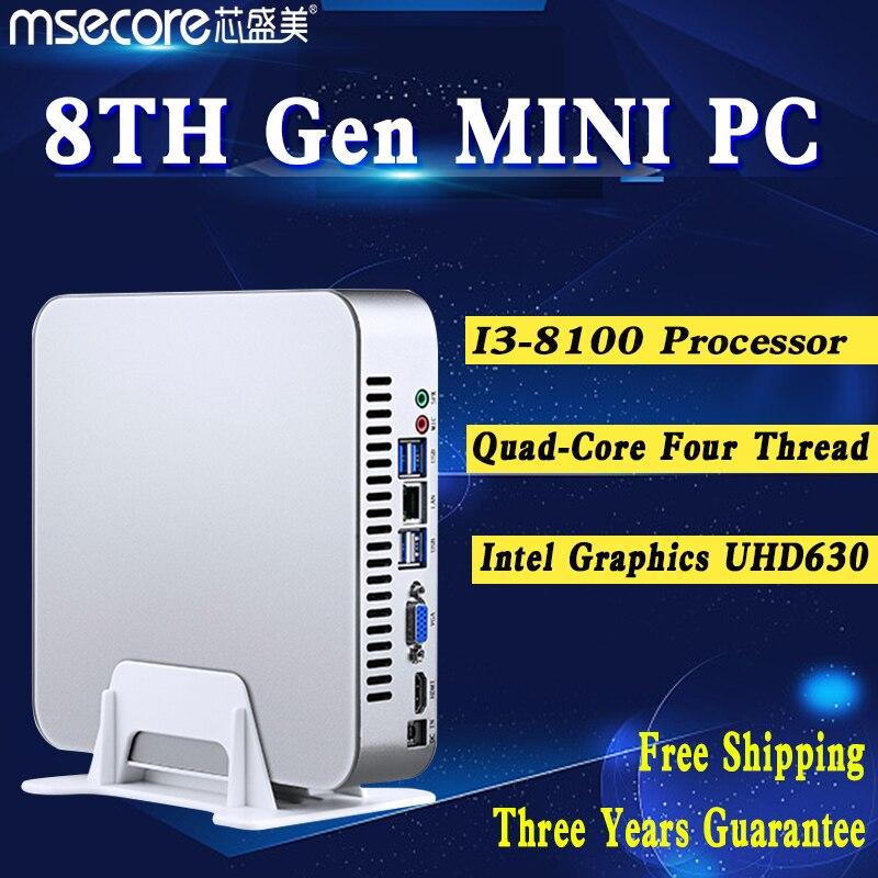 MSECORE Intel i3 8100 Quad core 4 filo di Gioco Mini PC i5 Desktop Del Computer Finestre 10 Nettop barebone HTPC UHD630 4 k 300 m WiFi