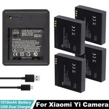 4PCS Xiao mi yi battery 1010mAh xiaoyi + dual charger For xiaomi action camera accessories