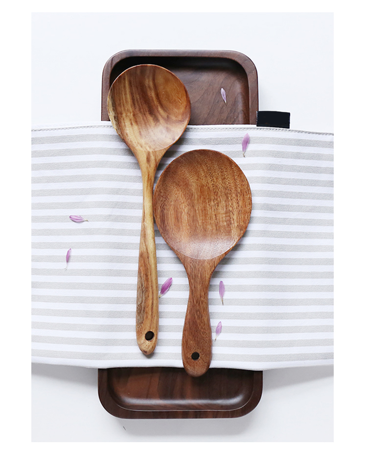 Thailand Teak Natural Wood Utensil Set Spoon Ladle Turner Long Rice Colander Soup Skimmer Cooking Spoons Scoop Kitchen Tool Set 77