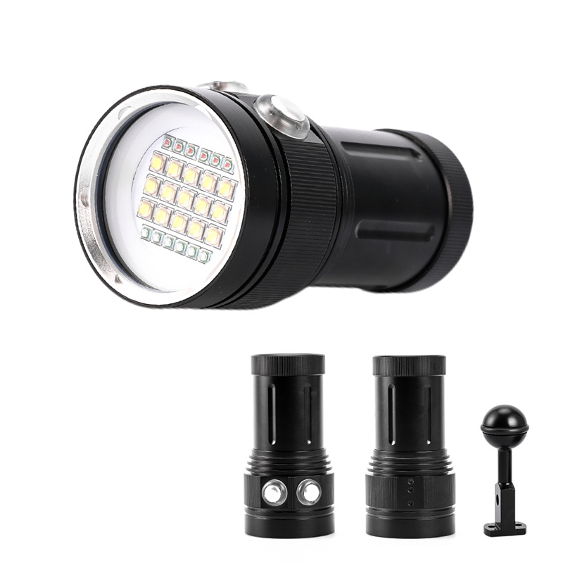 15 XML2 + 6 rouge + 6 UV lampe de poche lampe de plongée sous-marine 100 m sous-marine vidéo lumière LED photographie vidéo plongée