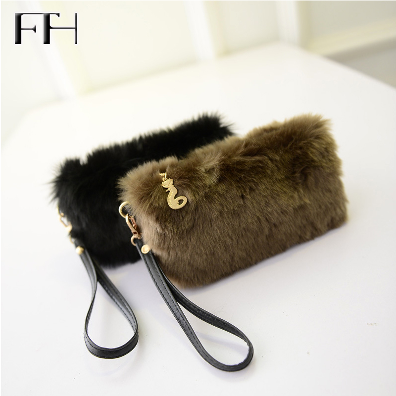 Hot Luxury womens mini fuzzy wristlet evening handbag female casual phone purse ladies elegant clutches coin purse for girls