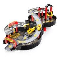 Diecasts и Toy Транспорт 1 компл. собрать Автостоянка + 2 машины + 1 HelicopterPlastic смешно, Крытый игрушечных автомобилей для мальчиков подарок Автостоян