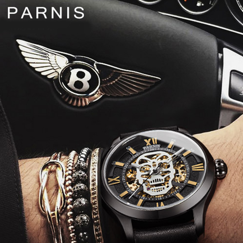 Parnis reloj automático calavera esqueleto luminoso auto viento Wacht hombres negro Bahía cuero zafiro vidrio PA6054-in Relojes mecánicos from Relojes de pulsera    2
