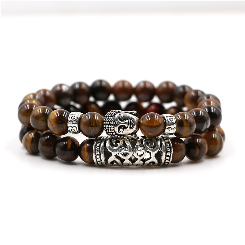 Buddha Natural Stone Beaded Bracelet 2 Pcs Set 3