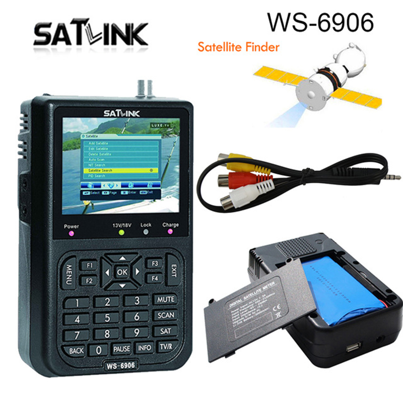Satellite Signal Finder Satlink WS 6906 Digital Satellite Meter Sat finder DVB S FTA C&KU Band MPEG 2 EPG AV 3.5inch LCD Display