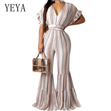 YEYA Sexy Deep V Neck Casual Rompers Womens Jumpsuit Ladies Wide Leg Loose Beach Playsuits Summer Night Party Club Overalls