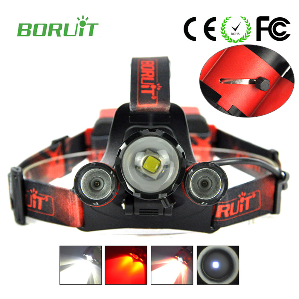 Boruit Torch led fishing lamp Head Flashlight front rechargeable lamp headlamp rechargeable camping light with usb charger cable