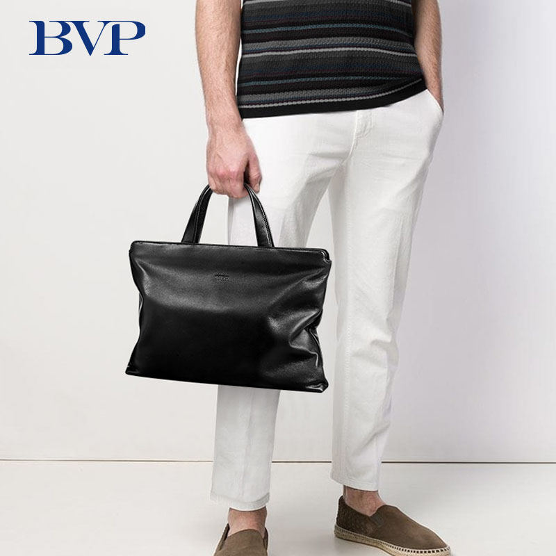 BVP Famous Brand High Quality Men Business Briefcase Genuine Leather 14 Inch Laptop Bag Black Real Leather Male Briefcase J50