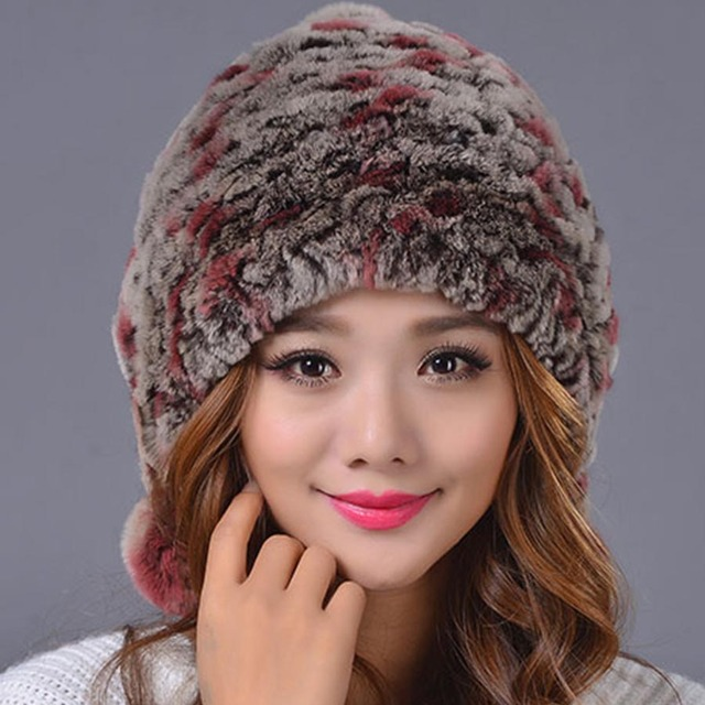 cc7677883a1 2016 Winter Beanies Fur Hat for Women Knitted Rex Rabbit Fur Hat with Fox  Fur Pom