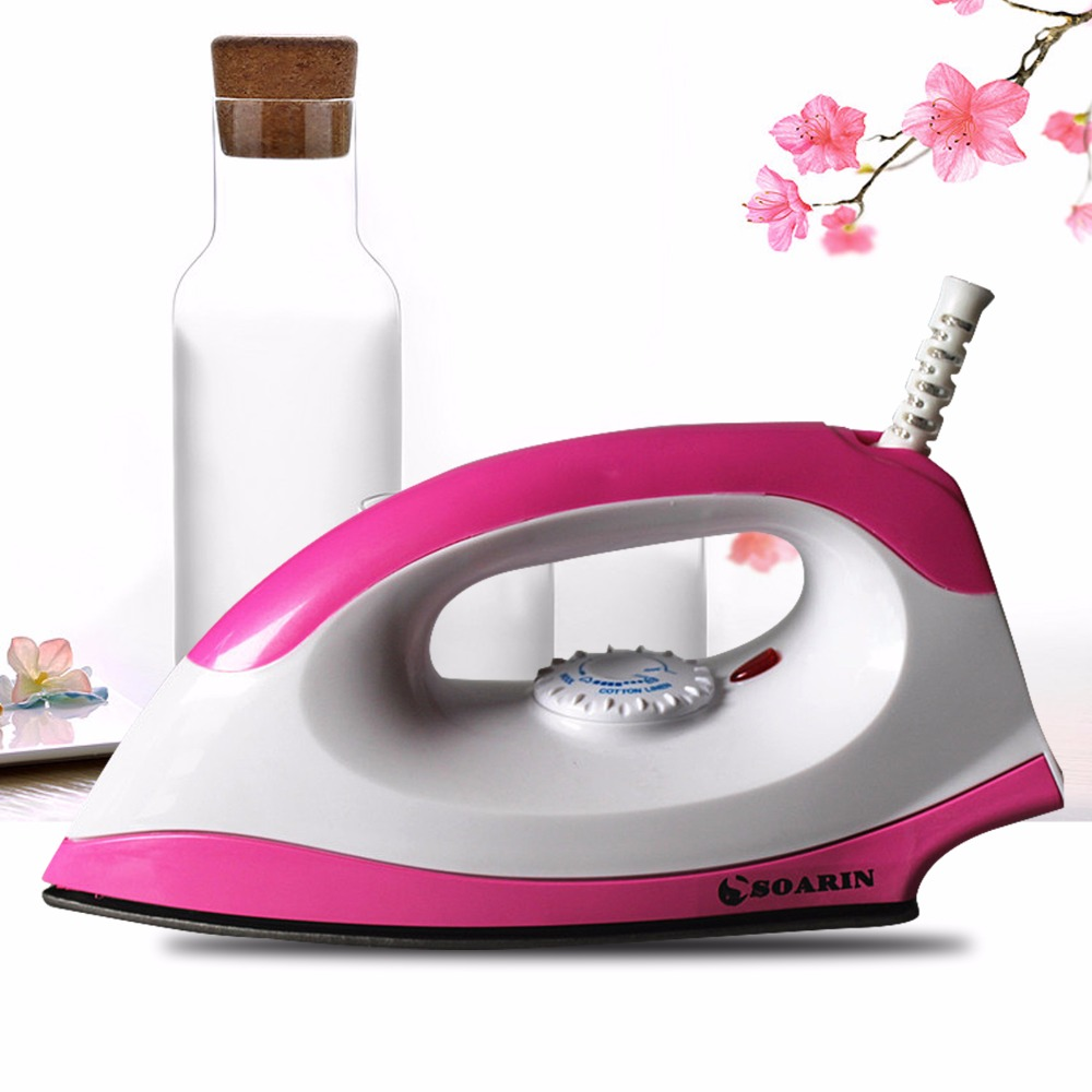 SOARIN Pink 1000W Electric Dry Iron Household Irons 220 V Portable Wire Teflon Non-stick Baseplate With Adjusted Temperature fashion household electric vertical clothes steamer irons for ironing teflon non stick baseplate temperature control iron z30