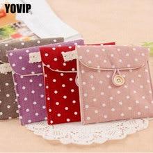 1Pc Small Polka Dot Organizer Storage Female Hygiene Sanitary Napkins Package Cotton Storage Bag Purse Case