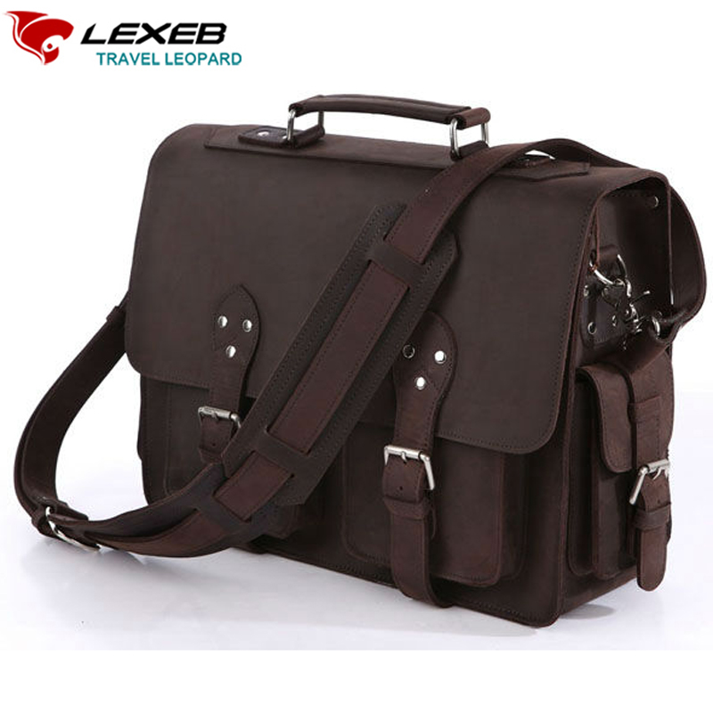LEXEB Brand Vintage Men's Briefcases Solid Genuine Leather Bag 15.6 Inch Laptop High Quality Business Men Casual Tote Brown new p kuone famous brands briefcases men luxury genuine cow leather 13 inch laptop bag high quality handbags business travel bag