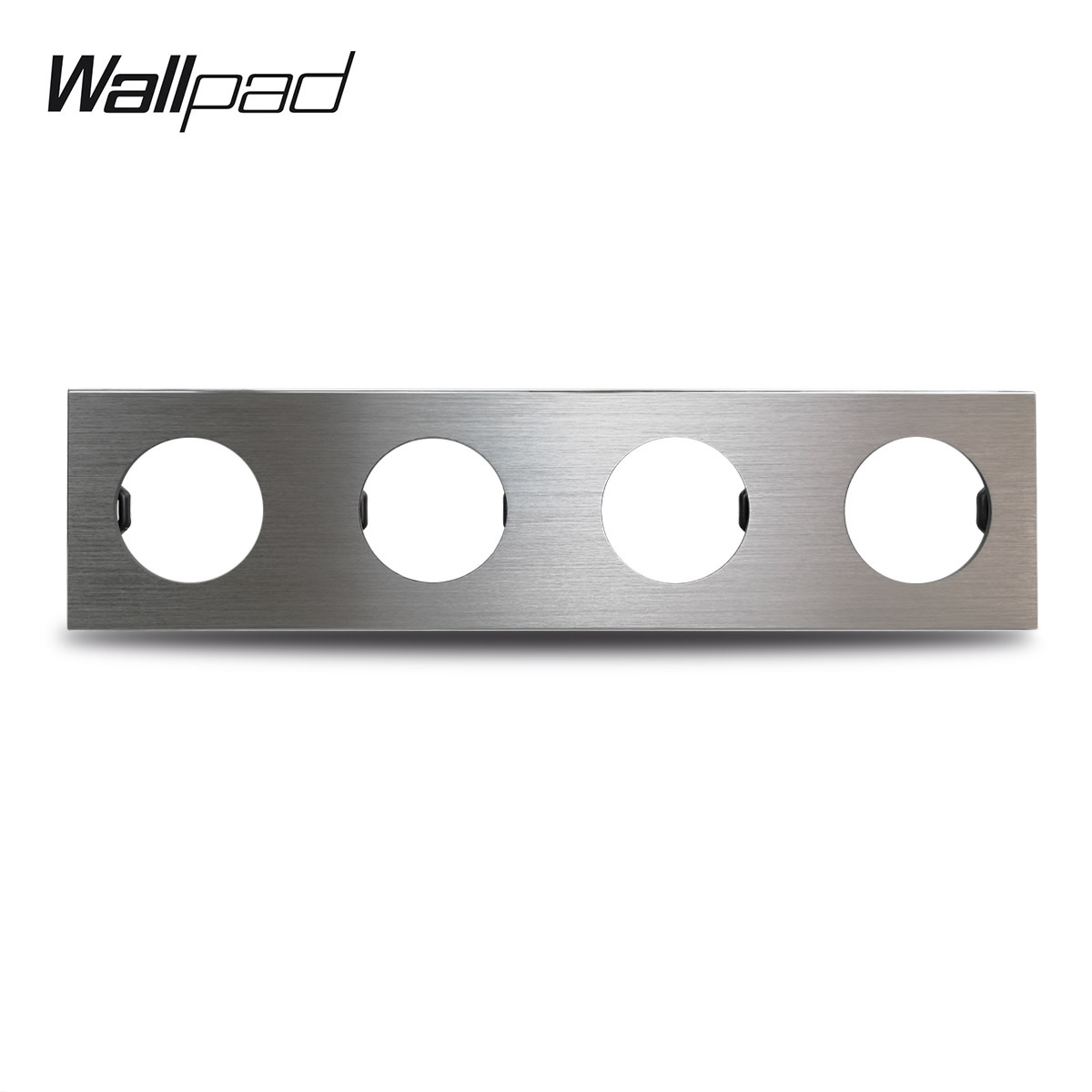 L6 DIY Quadruple 4 Frame Silver Panel Brushed Aluminum For Wall Switch Socket Metal Plate Free Combination, 344*86mm
