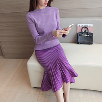 Women S New Dresses Knitted Fishtail Suits Wool Dresses Long Two Suits