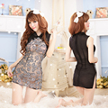 Summer ladies sexy Sheer Lace Nightgown embroidered cheongsam noble club sexy underwear bag hip