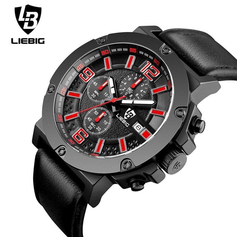 ФОТО Fashion Casual Watch Men Top Brand Luxury Genuine Leather Strap Quartz Wristwatch Business Big Dial Watches For Men LIEBIG 1017