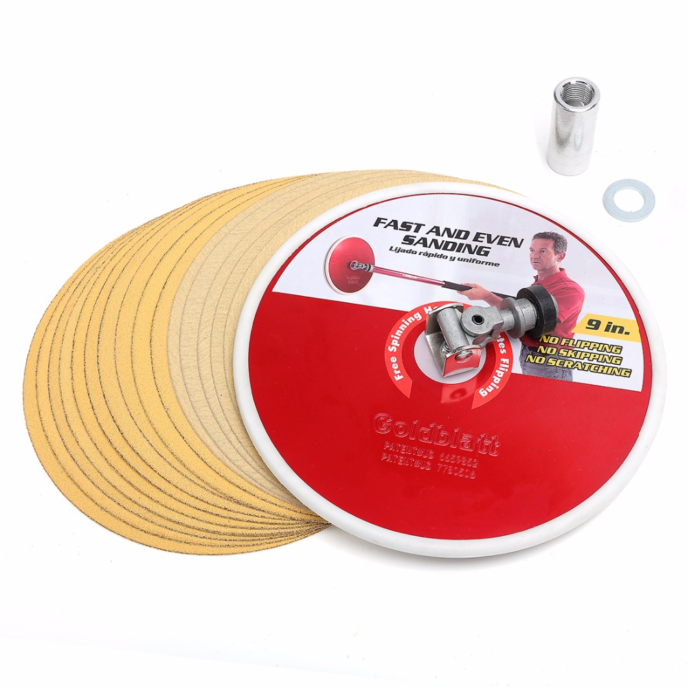 Goldblatt 9-inch Radial Drywall Sander Head and Sanding Disc Set Sanding Paper Abrasive Tools