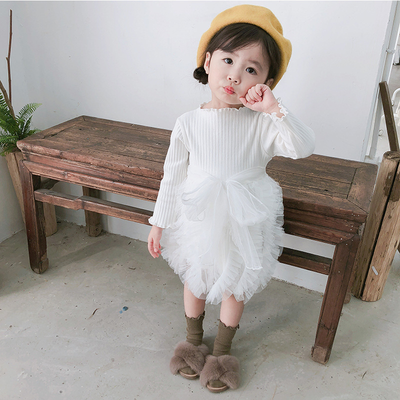 2019 Cotton Long Sleeve Knitted Kids Dresses For Girls Toddler Clothing Baby Girl Drees Tulle Patchwork Grey Pink White Spring 17
