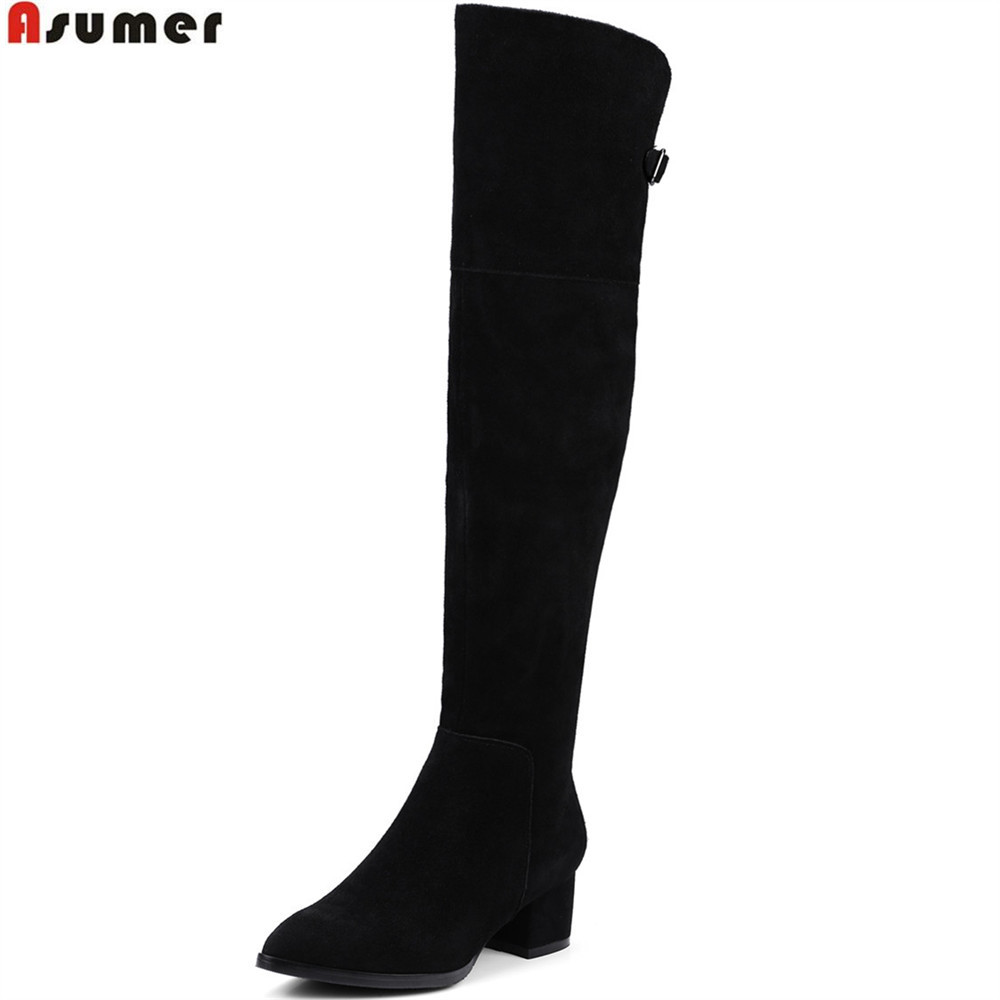 ASUMER black fashion women boots pointed toe ladies boots zipper cow suede ladies boots square heel leather over the knee boots asumer 2018 hot sale new arrive women boots fashion zipper black genuine leather pointed toe ladies boots simple mid calf boots